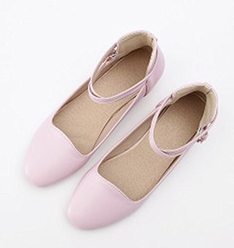 Aisun Womens Cute Comfort Round Toe Low Cut Dressy Buckled Ankle Strap Flats Shoes Pink DuLkhLuPA