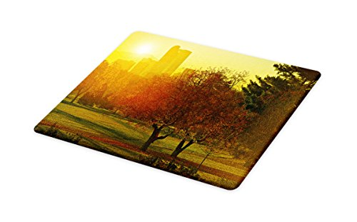 (Ambesonne Nature Cutting Board, Sunset Over The City Park Colorado Skyline Autumn Theme Scenic Picture, Decorative Tempered Glass Cutting and Serving Board, Small Size, Fern Green Dark)