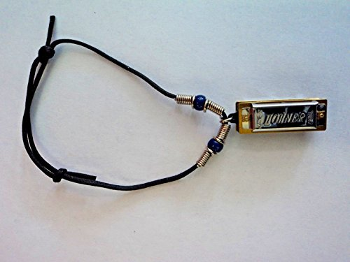 Real Playable Hohner Mini Removable Harmonica Bracelet in Key of C Model (Brass Br Loop)