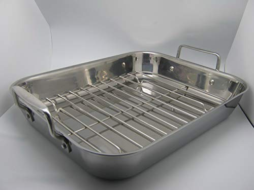 Gourmet Catalog Product 18'' Tri-Ply Stainless Steel Roasting Pan and Rack With Handles by Gourmet Catalog Product (Image #1)