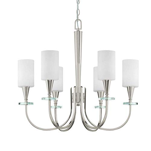 Langdon Mills 10504 Charpentier 6-Light Chandelier, Polished Nickel