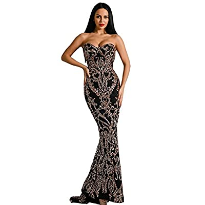 Miss ord Sexy Bra Strapless Sequin Wedding Evening Party Maxi Dress: Clothing