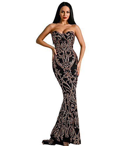 Miss ord Sexy Bra Strapless Sequin Wedding Evening Party Maxi Dress (Medium, Black)