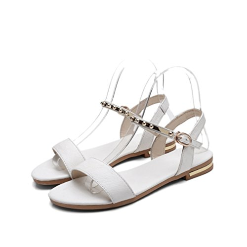 Strap Perfues Genuine Sandals 030 71 Buckle white 43 Women Plus Shoes Leather Woman 34 Casual Size Flats rrAqwPxd