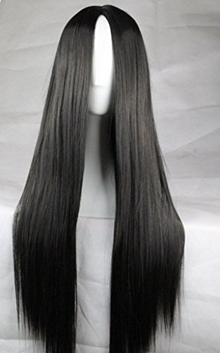 [75cm Long Hair Heat Resistant Straight Cosplay Wig(Black)] (Halloween Costumes Black Wig)