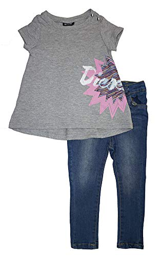(Diesel Little Girls' Two-Piece Denim Pant Set (4T, Heather Grey))