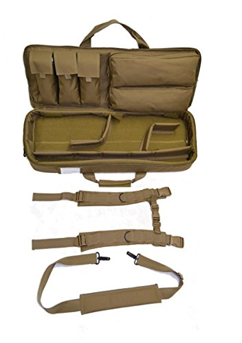 EXPLORER Mojo Ranger Rifles Weapon Gun Case Padded Long Tactical Carrying Military Backpack Bag with YKK Zippers with Storage Molle Pouches, Integrated 4 Pistol Cases,Brown Tan Color MJ01,30 inch Mojo