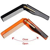 Kare & Kind Folding Pocket Comb for Men - 4 Pc Fine Tooth Comb (2 Brown and 2 Black Set) - For Styling Hair, Mustache, Beard - Men's Grooming - Ideal Gift