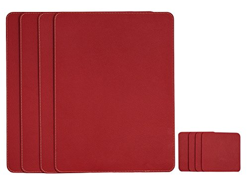 Nikalaz Set of Red Placemats and Coasters, 4 Table Mats and 4 Coasters, Italian Recycled Leather, Place Mats 15.7'' x 11.8'' and Coasters 3.9'' x 3.9'', Dining table set
