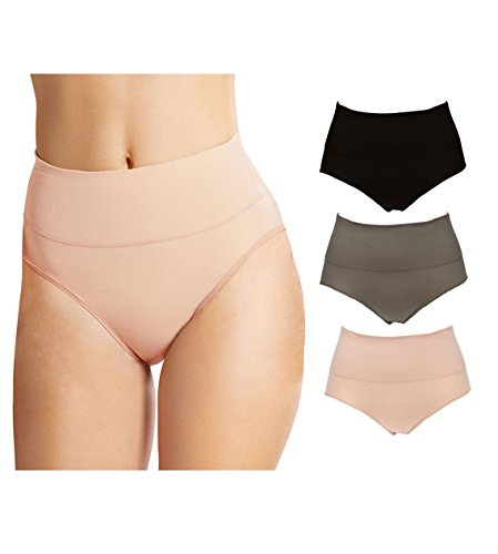 Emprella Control Top Underwear High Waist Wavy Solid Color Tummy Control Cotton Panty Briefs- 3 Pack (Large/X-Large, Black/Tan/Taupe) (Spanx Cotton)