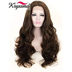 K'ryssma Fashion Women's Brown Natural Looking Glueless Synthetic Hair Lace Front Wig Heat Friendly Side Parting Long Wavy Replacement Hair Wigs with Highlights Half Hand Tied 24 Inch