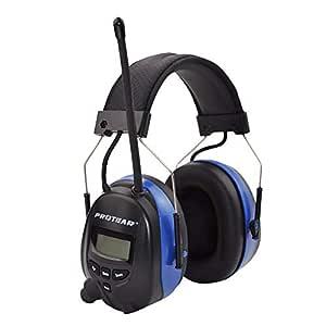 Orejeras de seguridad eléctricas recargables con Bluetooth, Radio digital FM / AM y micrófono incorporado, Protear Auriculares de reducción de ruido ...