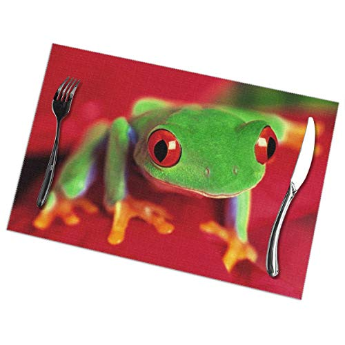 Frog Quilted (GGlooking Heat-Resistant Placemats Frog Dining Table Mats Washable Coasters Kitchen Pad Cup Plant Set of 6,12x18in)