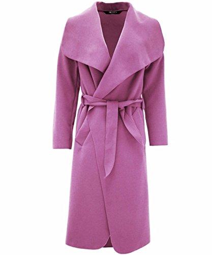 Pink Cintura Cascata Colletto Da Lunghe Trench Dal Design Maniche A Light Italiano Ampio Donna 6q8RTO