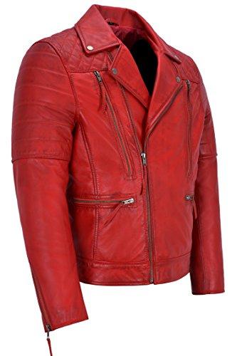 Fashion Giacca In Motorcycle Da Di Pelle New Rosso Uomo Napa 3205 Vera Biker Style Agnello ww4qrdzx