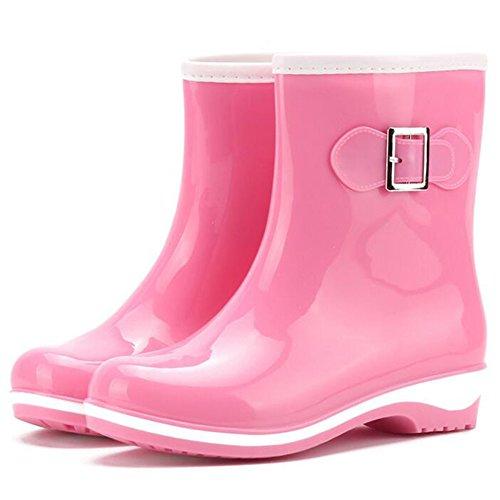 Highdas Botas de lluvia para mujer Señoras Wellies Slip On Baja Botas de Wellington Rubber Rain Rosado
