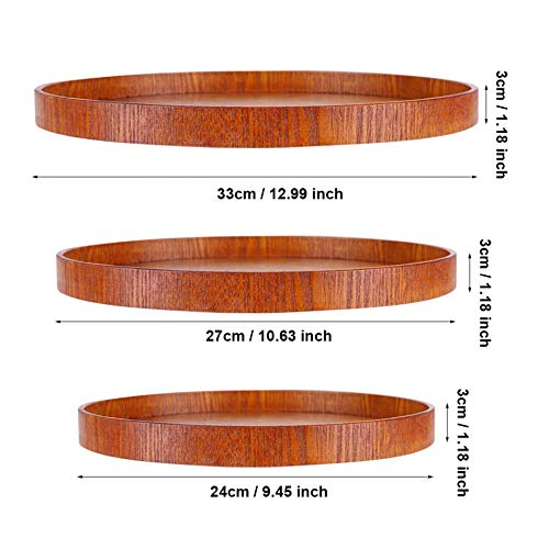 SaveStore Round Natural Wood Serving Tray Wooden Plate Restaurant Kitchen Food Server Dishes Water Drink Platter Tea Foods Serving Tray -