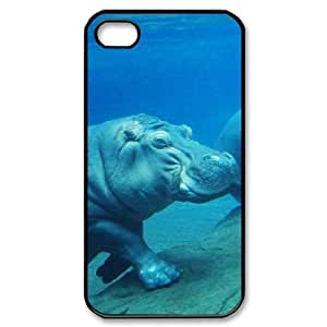 WJHSSB Customized Print Hippo Pattern Back Case for iPhone 4/4S