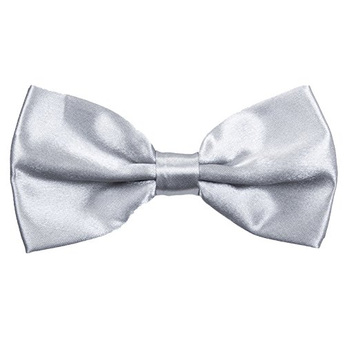 (Boys Pre tied Bow ties - Children Kids Adjustable Solid Color Wedding Party Satin Bowties Silver)