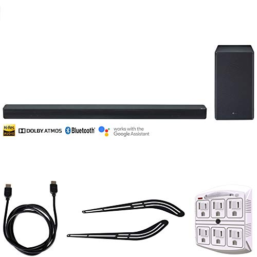 "Price comparison product image LG SK8Y 2.1-Channel Hi-Res Audio Soundbar w / Dolby Atmos + Accessories Bundle Includes,  Universal Soundbar Bracket 23""-55"",  6ft HDMI Cable (Black) & SurgePro 6-Outlet Surge Adapter w / Night Light"