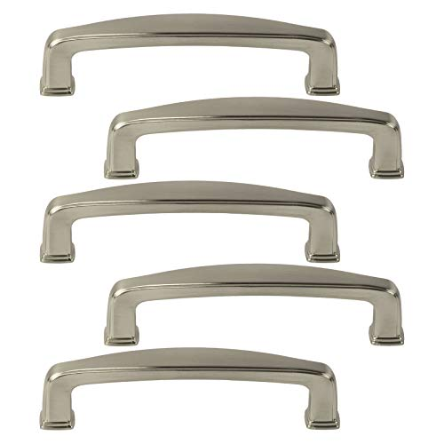 5 Pack of Brookwood Brushed Satin Nickel Cabinet Hardware Square Modern Pull Door Handles