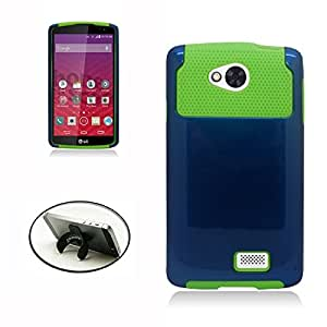 [STOP&ACCESSORIZE] BLUE GREEN DUAL LAYER NEST COVER RUBBER PLASTIC MOBILE PHONE CASE for LG TRIBUTE LS660 + FREE U KICKSTAND