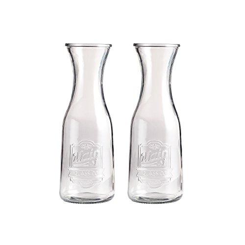 Klikel Main Street Wine & Water Carafe - Restaurant OR Home Pitcher - Set OF 2 Milk Bottle - Jug Also For Juice Ice Tea Coffee Lemonade - 1 Liter by Klikel
