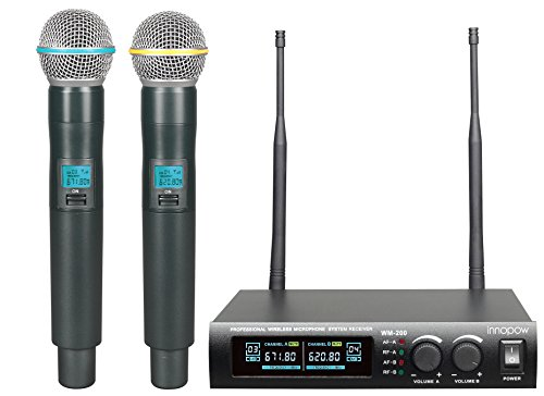innopow Metal Dual UHF Wireless Microphone System,inp Metal Cordless Mic set, Long Distance 150-200Ft ,16 Hours Continuous Use for Family Party,Church,Small karaoke Night (Mic Set)