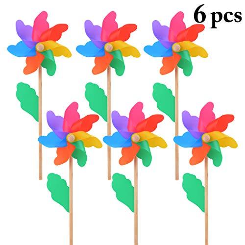(B bangcool Wind Spinners Lawn Pinwheels Sunflower Rainbow Wind Spinner Windmills Party Pinwheel for Patio Lawn & Garden (6Pcs))