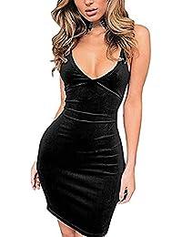 Velvet Dress Womens Spaghetti Strap Bodycon Sleeveless...