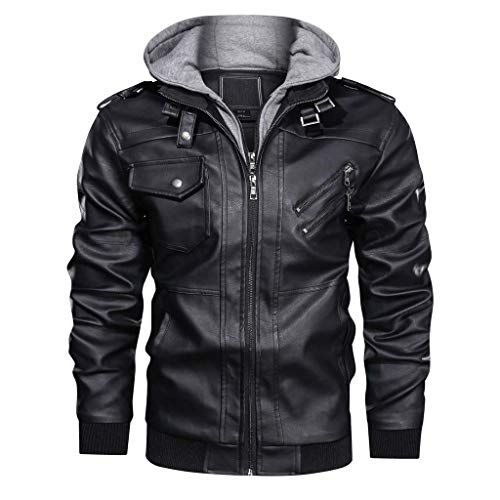 CRYSULLY Men's Leather Jacket-Fall Winter Vintage Motorcycle Biker Jacket with Removable Hood