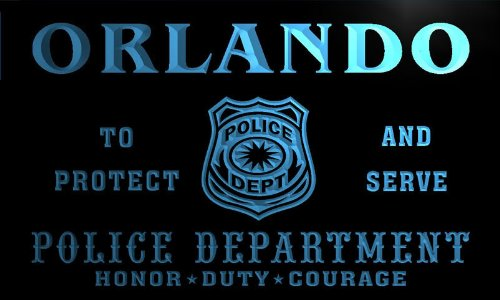 tk2129-b Orlando Police DEPT Department Badge Policemen Bar Beer Neon Light - B Orlando
