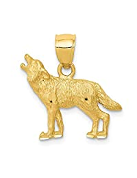 14k Yellow Gold Wolf Pendant Charm Necklace Animal Wild Man Fine Jewelry Gift For Dad Mens For Him