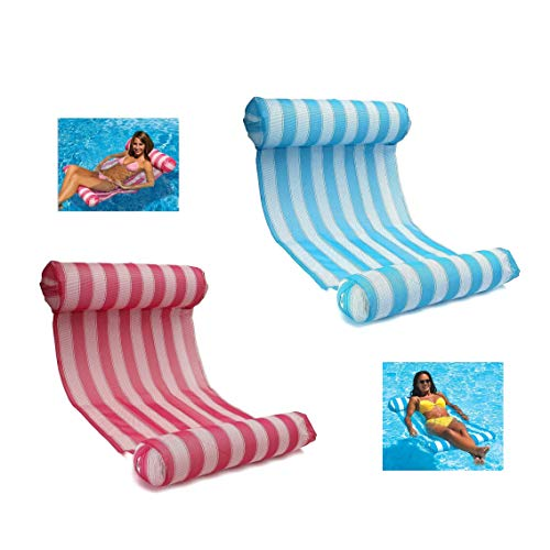 - LEZHI 2-pack(Pink,blue) Premium Swimming Pool Float Hammock, Comfortable Inflatable Swimming Pools Lounger, Water Hammock Lounge