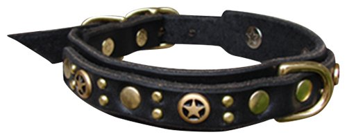 "Paco Collars - ""Flash Deluxe"" - Handmade Leather Small Dog Collar- 3/4"" Wide - Silver - Black 8""-10"""