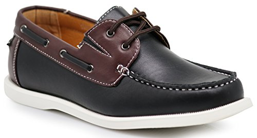 Enzo Romeo GRTA Men's Classic 2-Eye Boat Shoes Light Weight Original Loafers (9.5 D(M) US, Black)
