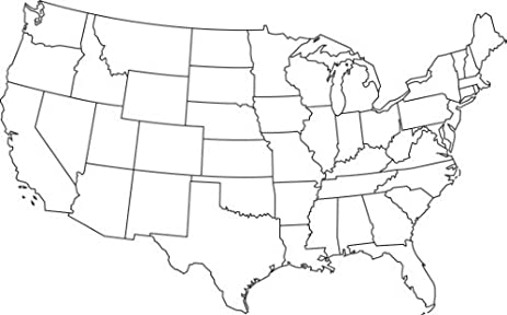 Large Blank Map Of USA America Unit Study Dear America Blackline - Blackline us map
