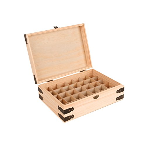 Pine Wood Essential Oil Box Organizer - Holds 35 30ml (1 oz) Bottles - Includes Labels and Bottle Top Removal Tool - Protect, Store, & Organize Pure Essential Oils ()