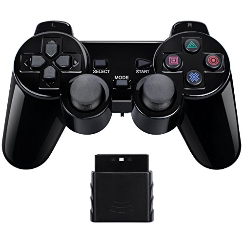 Wireless Controller Gamepad Twin Shock for PS2 Playstation2 (Jet ()