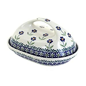 Blue Rose Polish Pottery Blue Daisy Butter Dish