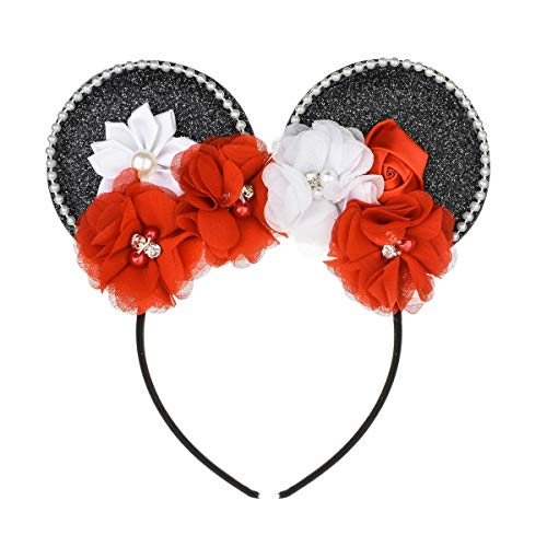 A Miaow Pearl Flower Mickey Mouse Ears Headband Minnie Hair Hoop Party Accessory (Black)