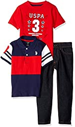 U.S. Polo Assn Little Boys\' Striped Shirt, Screen Printed T-Shirt and Denim Jean, Red/Blue, 7