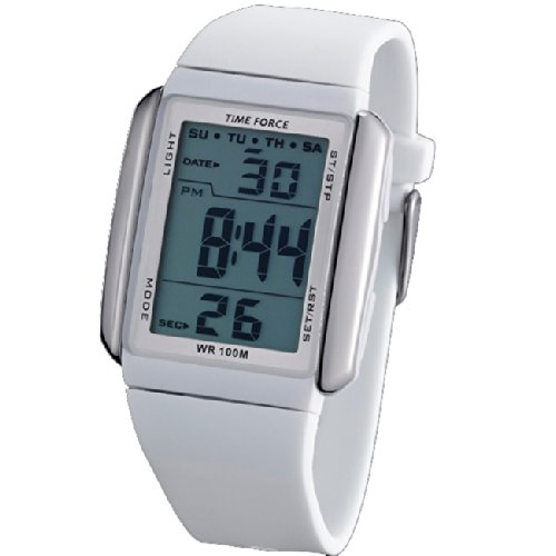 Reloj TIME FORCE de señora DIGITAL. Sumergible Crono Alarma y Luz. Caucho blanco. TF-3185L02: Amazon.es: Relojes