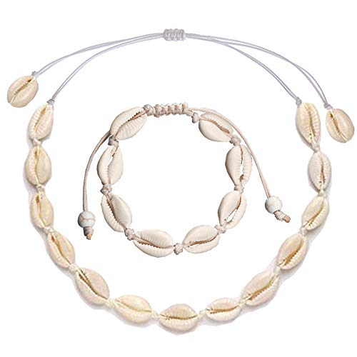URSKYTOUS Natural Shell Choker Necklace for Women Beach Seashell Pendant Necklace White Hawaii Boho Conch Bracelet Adjustable Cowrie Statement Clam Jewelry Set Gift