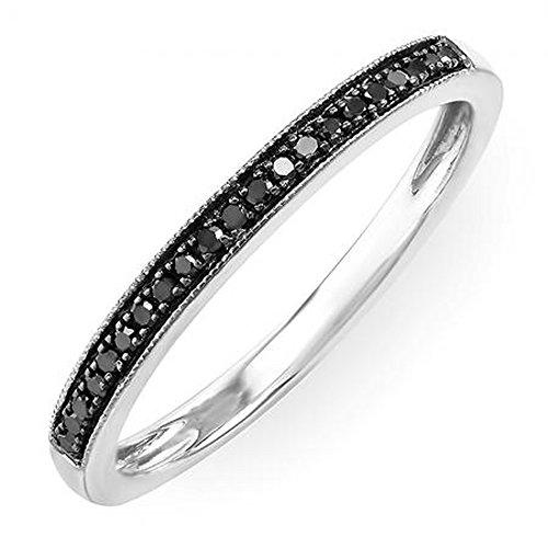 Dazzlingrock Collection 0.12 Carat (ctw) 10K Round Black Real Diamond Wedding Millgrain Stackable Band, White Gold, Size 7