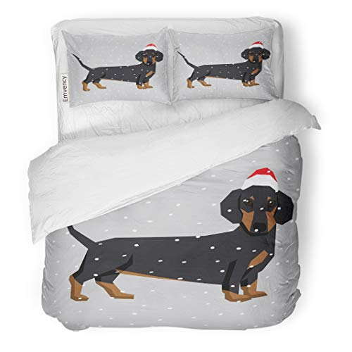Emvency Decor Duvet Cover Set Full/Queen Size Wiener Polygon Dog Collection Dachshund in Christmas Santa Hat Adorable Animal Cute 3 Piece Brushed Microfiber Fabric Print Bedding Set Cover ()