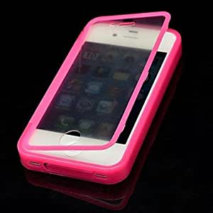 GHK - Solid Color with Touch Screen Full Body Case for iPhone 4/4S(Assorted Color) , Blue