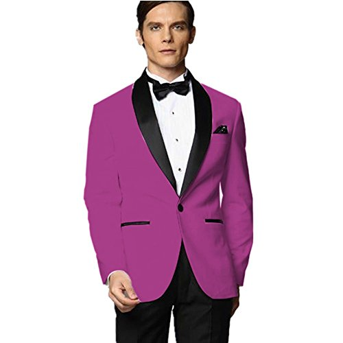 MYS Mens Custom Made Groomsman Tuxedo Fuchsia Suit Black ...