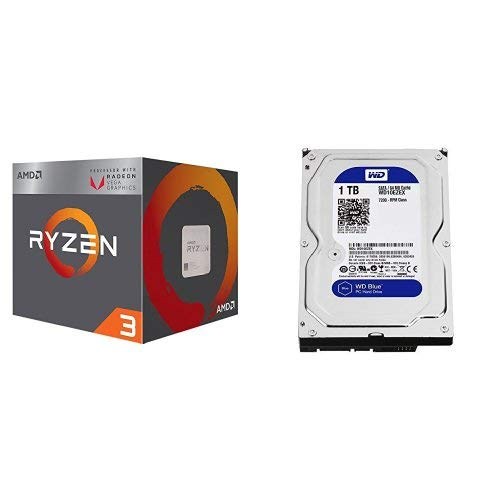 AMD Ryzen 3 2200G Processor with Radeon Vega 8 Graphics and WD Blue 1TB SATA 6 Gb/s 7200 RPM 64MB Cache 3.5 Inch Desktop Hard ()