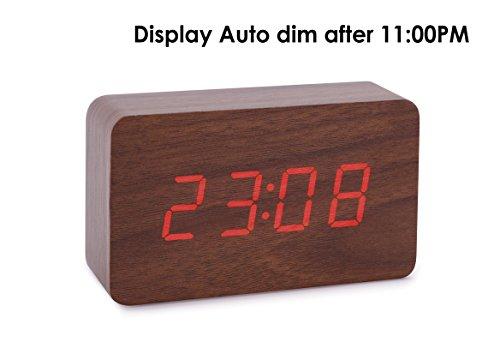 Konigswerk New Wooden Series Modern Mini Rectangle Wood Grain Calendar Thermometer Activated Desk Super Soft Night Light LED Digital Alarm Clock (Brown-Red) AC024G